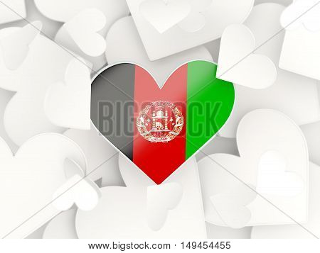 Flag Of Afghanistan, Heart Shaped Stickers