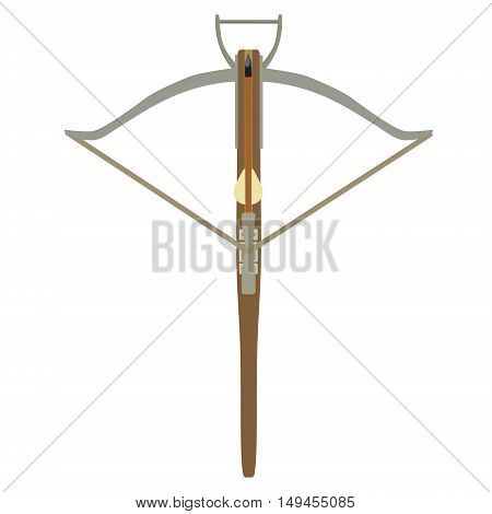 Vector illustration wooden medieval knight archer crossbow. Arbalest