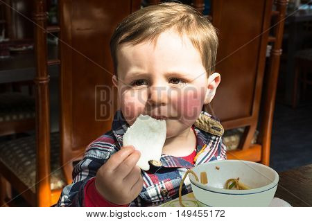 Little boy enjoying his meal at a Chinese restaurant.