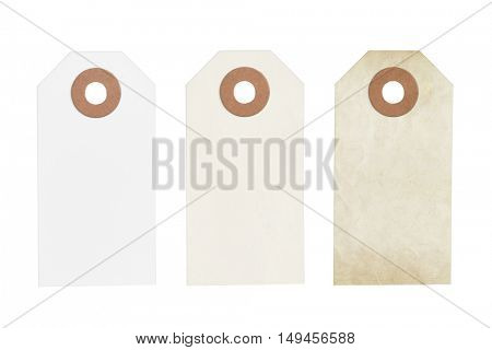 Old vintage labels or tags isolated on a white background