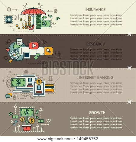 Set sixteen of business banners: insurance, research, internet banking, growth