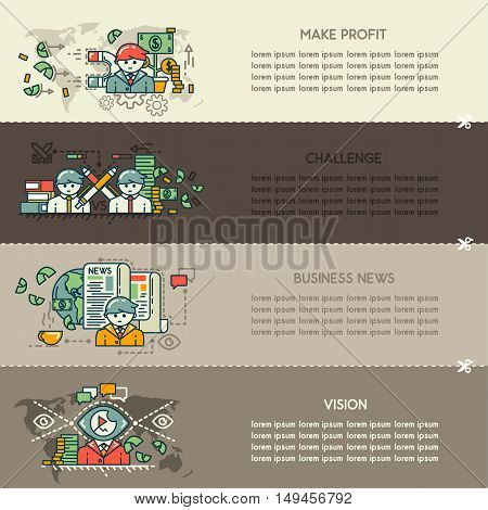 Set twenty eight of business banners: make profit, challenge, business news, vision