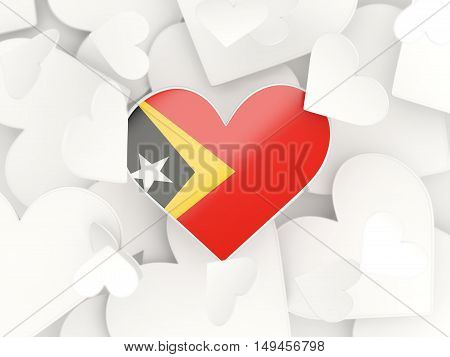 Flag Of East Timor, Heart Shaped Stickers