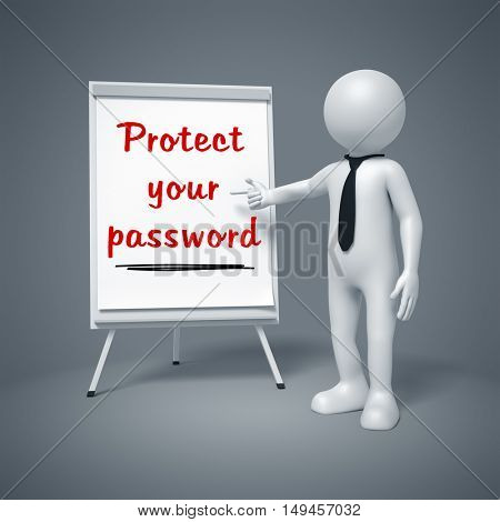 3d illustration of a business man presenting Protect your password