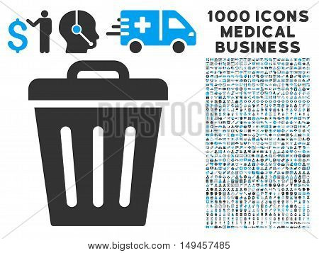Trash Can icon with 1000 medical business gray and blue vector pictographs. Collection style is flat bicolor symbols, white background.