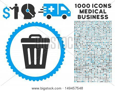 Trash Can icon with 1000 medical commerce gray and blue vector pictograms. Design style is flat bicolor symbols, white background.