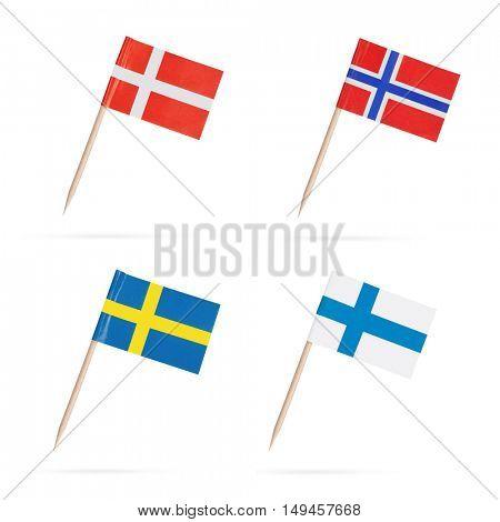 Scandinavian mini flags. Flag Norway, Sweden,Finland and Denmark
