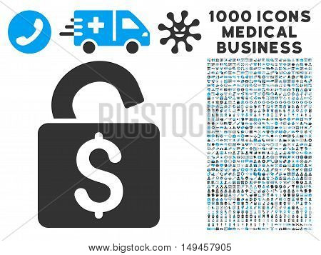 Unlock Banking Lock icon with 1000 medical commerce gray and blue vector pictographs. Design style is flat bicolor symbols, white background.