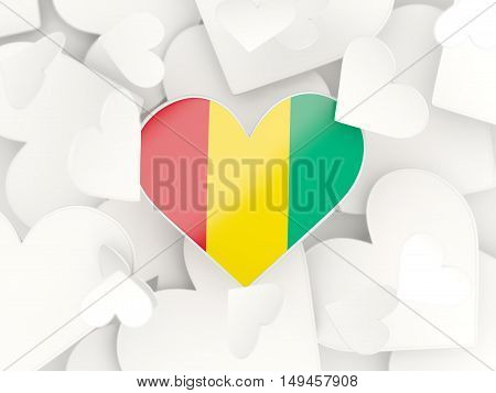 Flag Of Guinea, Heart Shaped Stickers