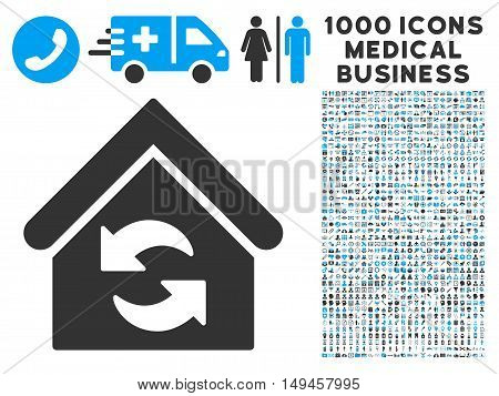 Update Building icon with 1000 medical business gray and blue vector pictographs. Design style is flat bicolor symbols, white background.