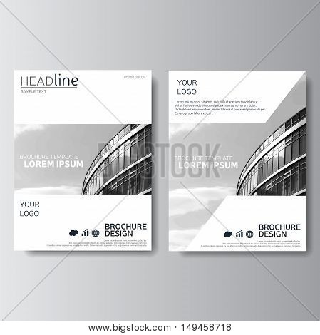 White annual report, brochure template. Magazine cover, presentation template, leaflet design.