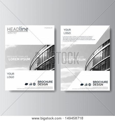 White annual report, brochure template. Magazine cover, presentation template, leaflet design.
