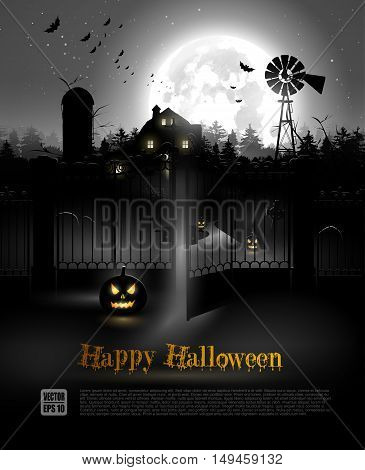 Scary farmhouse and graveyard in the woods - Halloween poster