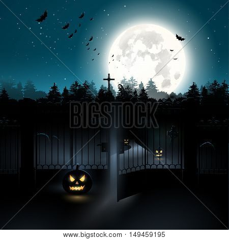 Scary graveyard in the woods - Halloween background