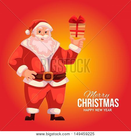 Cartoon style Santa Claus holding a small gift box, Christmas vector greeting red card. Full length portrait of Santa holding a little present box, greeting card template for Christmas eve