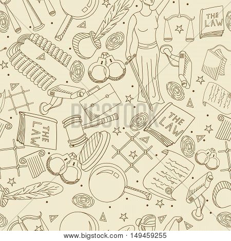 Vector collection of law and justice icons sign symbol pictogram in flat style with a Judge book hammer handcuffs scales hat seamless