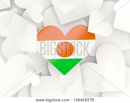 Flag Of Niger, Heart Shaped Stickers