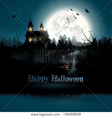 Scary church and graveyard in the woods - Halloween greeting card