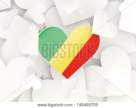 Flag Of Republic Of The Congo, Heart Shaped Stickers