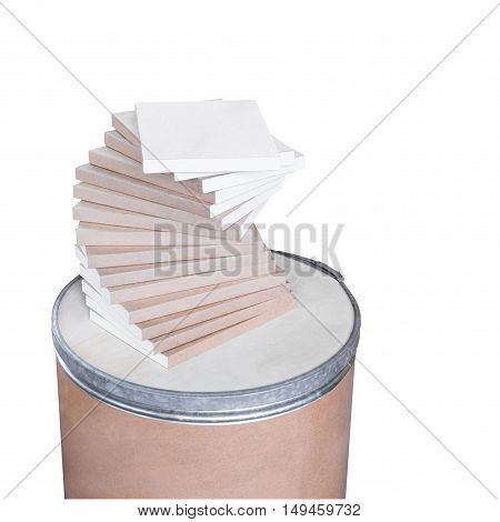 Stack of book on wooden tank isolated on the white background with clipping path