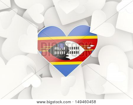 Flag Of Swaziland, Heart Shaped Stickers