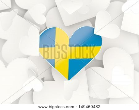 Flag Of Sweden, Heart Shaped Stickers