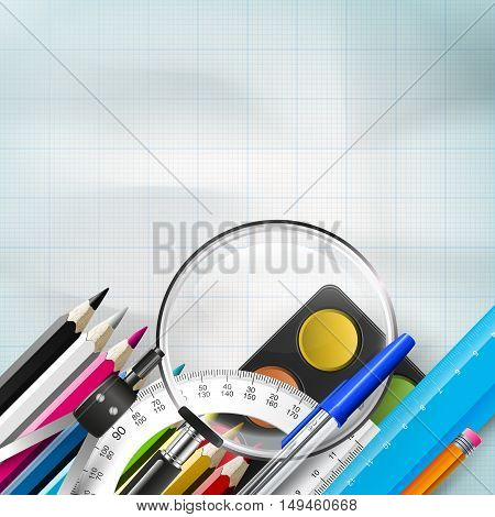 School background with school supplies on the paper and place for text