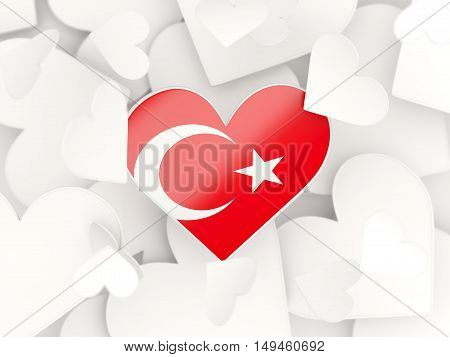 Flag Of Turkey, Heart Shaped Stickers