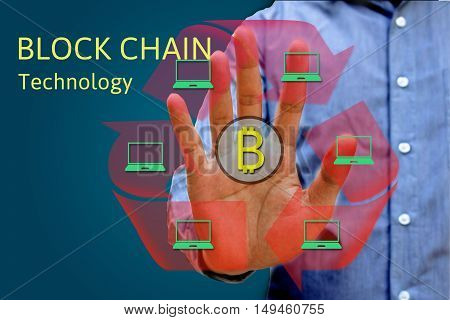 Block chain network concept and bitcoin icons double exposure of hand showing word diagram as concept distributed ledger technology.
