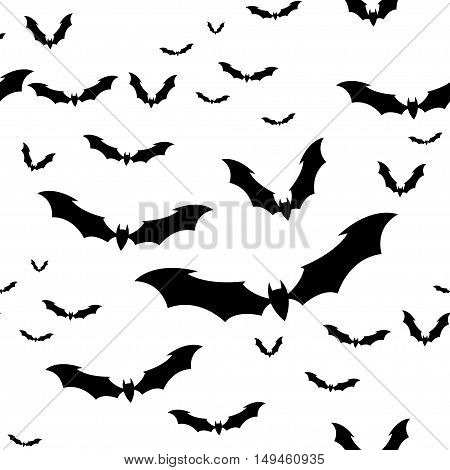Seamless pattern flock of bats on a White background. Illustration for your design for Halloween. Vector EPS10.