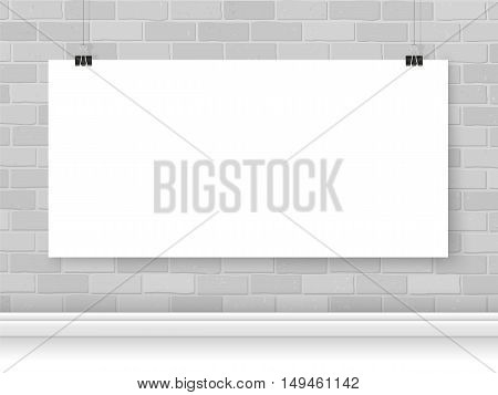 Poster paper mockup on binder clips on brick wall. Modern poster template mock up. Empty simple vector banner for your illustration drawing painting quote or photos.