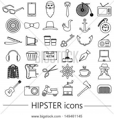 Hipster Theme And Culture Set Of Outline Vector Icons Eps10