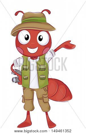 Mascot Illustration of a Happy Fire Ant in Safari Costume Holding a Pair of Binoculars