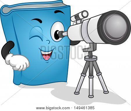 Mascot Illustration of a Blue Book Using a Long Range Observation Binocular