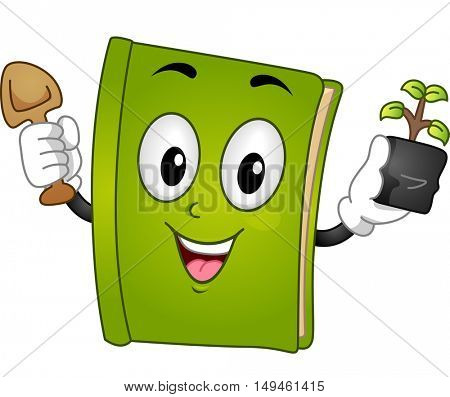 Mascot Illustration of a Green Book Holding a Trowel in One Hand and a Sapling in the Other