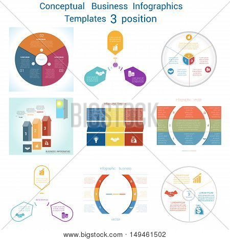 Set Vector templates Infographics business conceptual cyclic processes for three positions text area possible to use for pie chart workflow banner diagram web design timeline area chart