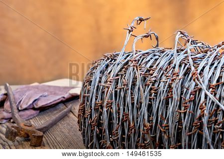 still life with barbedwire and old cutter