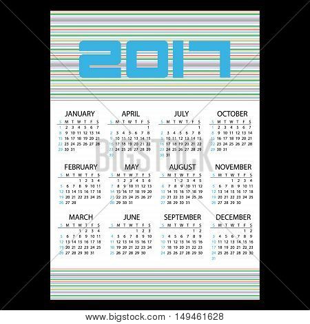2017 Simple Business Wall Calendar With Horizontal Lines Eps10