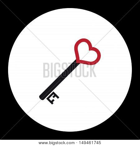 Black Nad Red Isolated Simple Old Door Key With Heart Icon Eps10