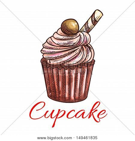 Cupcake sketch icon. Patisserie shop emblem. Vector sweet cupcake with creamy topping and caramel. Template for cafe menu card, cafeteria signboard, bakery label