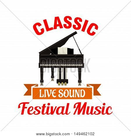 Piano. Classic music festival emblem with vector icon of classic black piano and orange ribbon