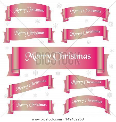 Pink Shiny Color Merry Christmas Slogan Curved Ribbon Banners Eps10