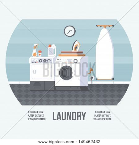 Laundry Room with Washing Machine Iron Board and Dryer. Vintage Retro Style with Flat Elements. Modern Trendy Design. Vector Illustration.