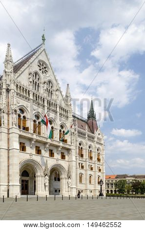 The Parliament building in Budapest, Hungary. The Parliament, built in Neo-Gothic style and located on the bank of Danube.