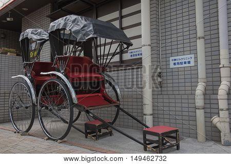 TOKYO  , JAPAN - MAY 2 , 2016 :  Japanese Rickshaw parked at asakusa Tokyo Japan   , Tokyo, Japan. MAY 2 2016.