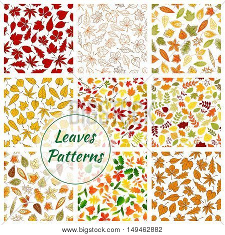 Seamless pattern of leaves. Color elements of birch, rowan, maple, elm, polar, oak, aspen leaf icons. Autumn forest foliage fall decorative background with silhouette, outline, linear shapes