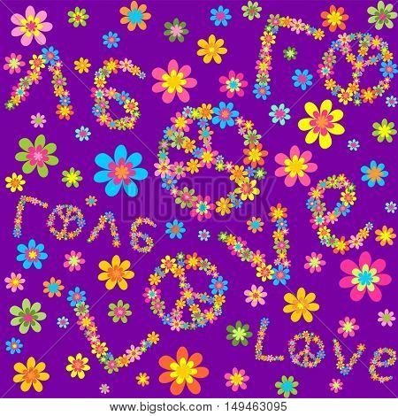 Hippie violet wallpaper with colorful flowers and love lettering