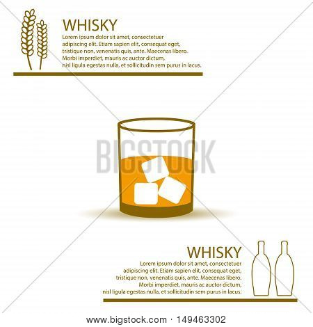 Whisky Glass Simple Color Infographics Theme Eps10