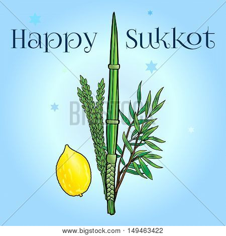 Happy Sukkot greeting card. Hebrew translate: Happy Sukkot. Jewish traditional four species on blue background for Jewish Sukkot Festival. Vector illustration. Israel
