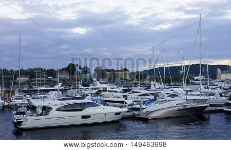 Marina with a view of Akershus Fortress in Oslo Norway.
